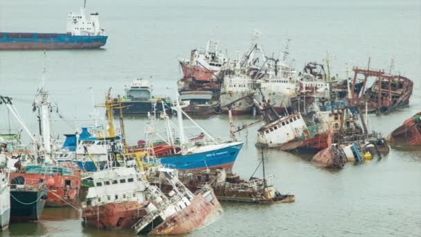 Old Fishing Boats Abandoned Graveyard in Port of Montevideo Uruguay South America