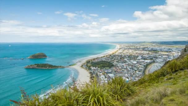 Timelapse of Tauranga New Zealand Viewed from Mount Maunganui Downtown to the Beach City and Harbour of the Popular Vacation Destination in the Bay of Plenty Region