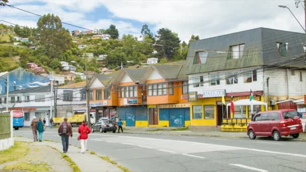 Tourists Walking Along the Sidewalk in the South American Port City of Puerto Montt Chile
