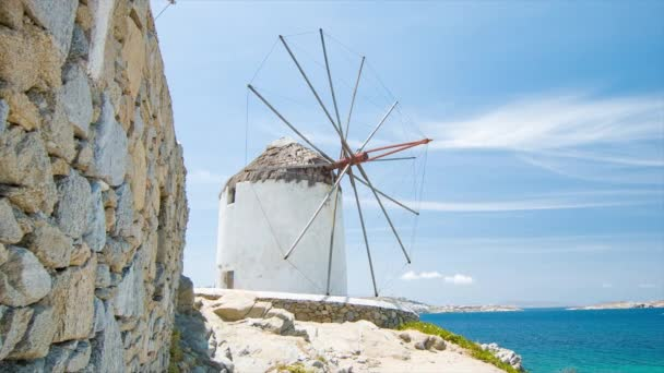 Mykonos Greece Windmill on a Hill Against the Blue Mediterranean Aegean Sea on a Summers Day with Good Weather