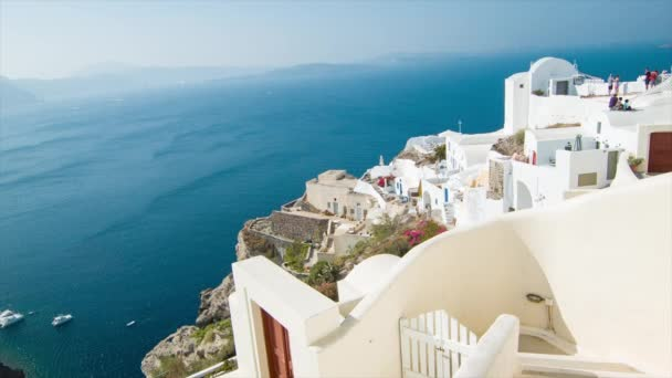 Picturesque View from Oia Town in Santorini Greece with Greek Style Buildings Overlooking from the Island over the Mediterranean Sea