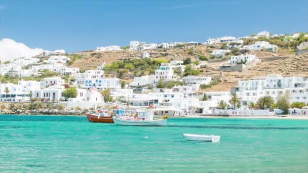 Greek Island Town of Mykonos Greece with White Buildings and Vibrant Colors in a Scenic Mediterranean Setting