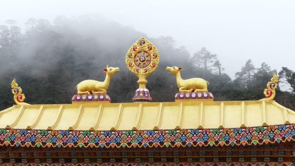 One Most Important Symbols Buddhism Dharma Wheel Background Foggy