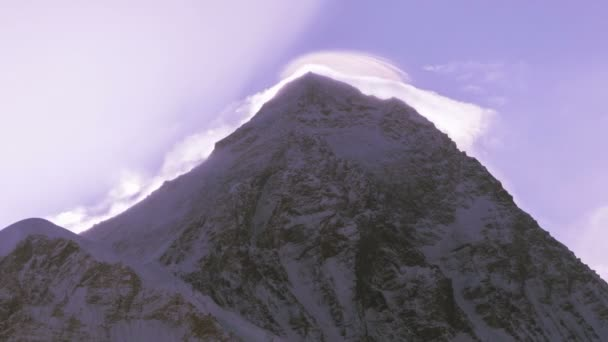 Majestic view of Mount Everest (8848 m), the highest peak of the world at sunrise. Time lapse.