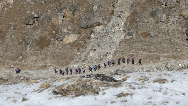 Activity, recreation: a group of tourists has a trekking towards the base camp of Everest peak (8848 m).