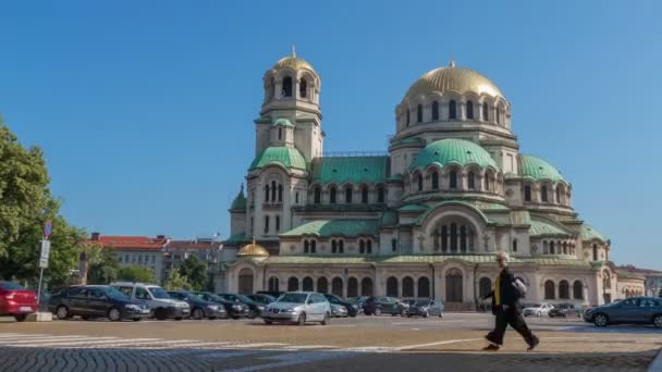 City view with Alexander Nevsky Cathedral in Sofia, Bulgaria on June, 2019. Time lapse.