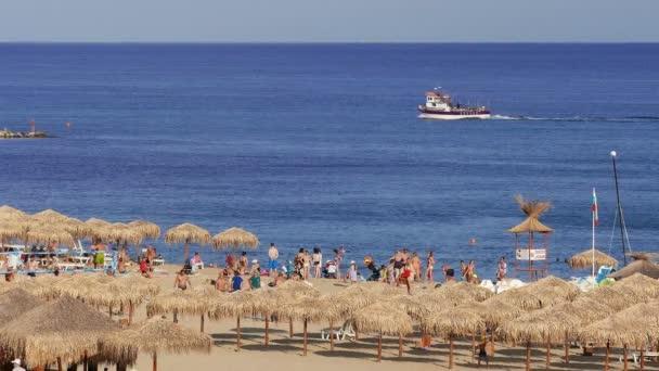 Main sandy beach for relaxation in Sveti Vlas, Bulgaria on June, 2019.