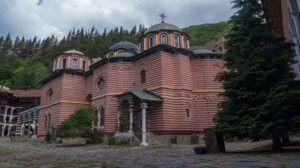 Famous Rila Monastery, founded in the 10th century in Bulgaria on June, 2019. Time lapse.