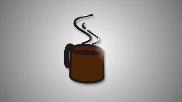 Coffee cup - animated cartoon icon on Green screen background - Coffee glass cup 4K animation.