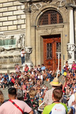 Lausanne, Switzerland - July 9th 2019: Festival de la Cite in streets of Swiss city. Traditional cultural event with concerts, theatre, dance, visual arts or circus. Up to 100,000 visitors in 6 days
