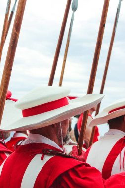 Vevey, Switzerland - Aug 1 2019: Traditional parade on Swiss National Day. National holiday of Switzerland, set on 1st August. Celebration of the founding of the Swiss Confederacy. Independence day