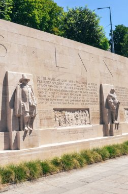 Geneva, Switzerland - July 19, 2019: The Reformation Wall, monument to the Protestant Reformation of the Church. Depicting numerous Protestant figures. Oliver Cromwell, Roger Williams