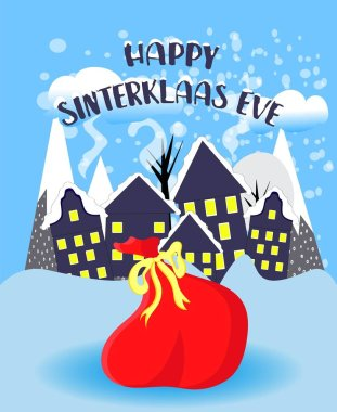 St. Nicolas day. Bag with surprises on a blue background. December. Day of sweets and gifts.