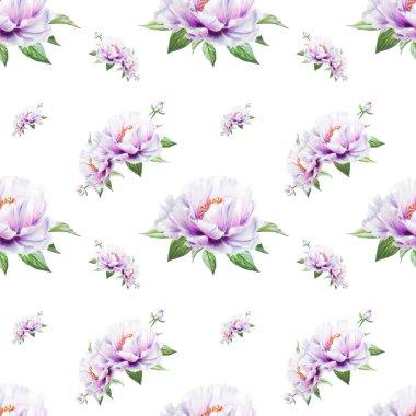 """Картина, постер, плакат, фотообои """"белый пион цветы бесшовная фоновая иллюстрация постеры цветы"""", артикул 268027992"""