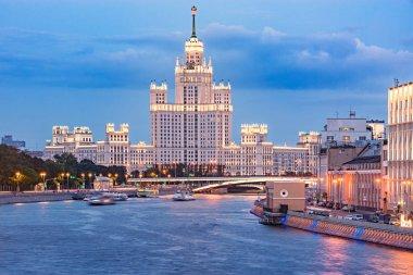 Retro skyscraper by the river. Moscow. Russia