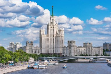 Retro skyscraper on Kotelnicheskaya embankment by Moscow river at summer day time. Moscow. Russia.
