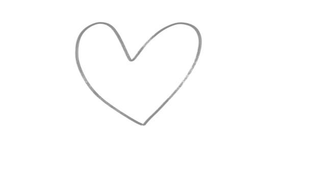 Ruce nakreslené srdcem s čmáranicemi. Animační pohybová grafika. Průhledné pozadí.
