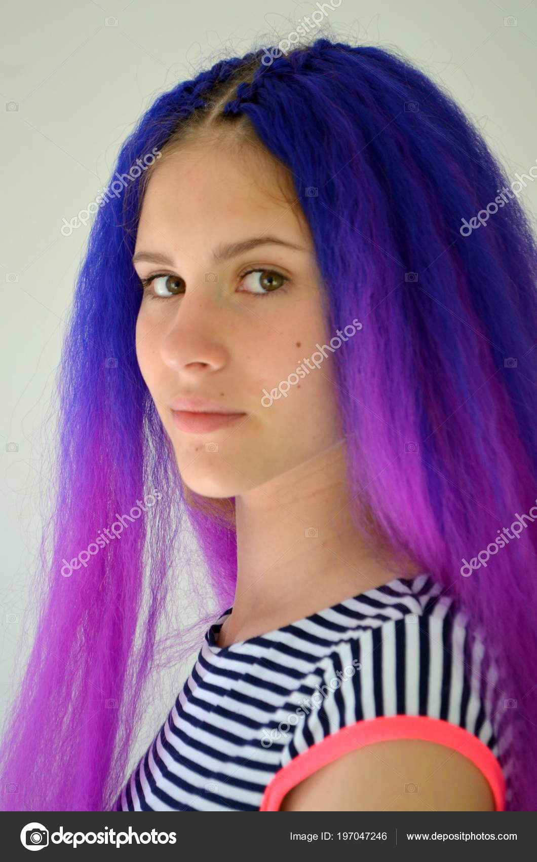 Bright Stylish Image Girl Blue Purple Hair Technique Hair Extensions