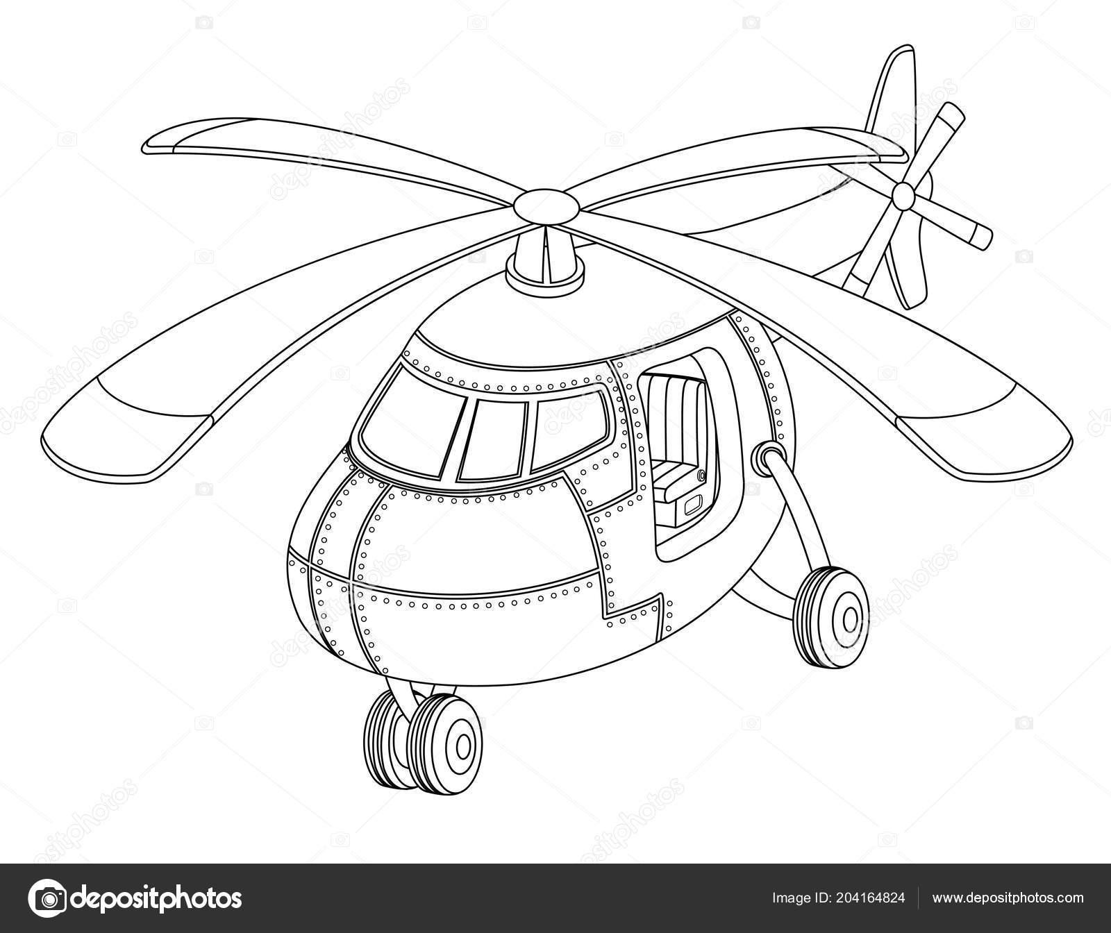 Beyaz Zemin üzerinde Bir Helikopter Olan çocuklar Için Güzel Boyama