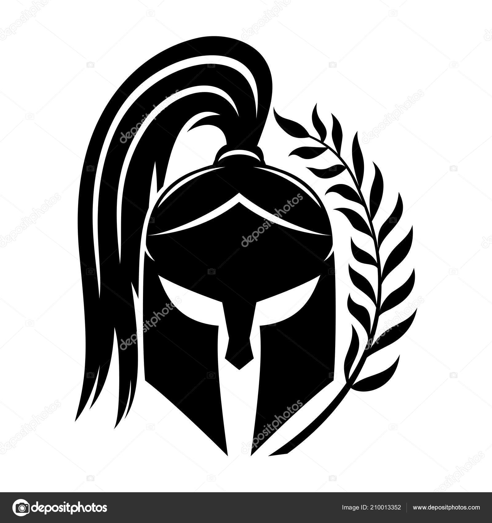 Sign Black Spartan Helmet White Background Stock Vector C Taronin