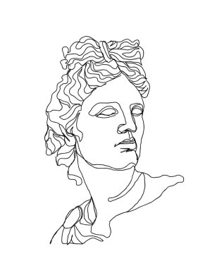One line drawing skech. Apollo sculpture.Modern single line art, aesthetic contour. Perfect for home decor such as posters, wall art, tote bag, t-shirt print, sticker