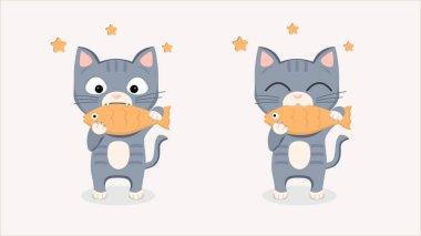 Cute kitty cat und cookie