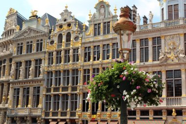 beautiful lantern with flowers at the Grand Place in Brussels