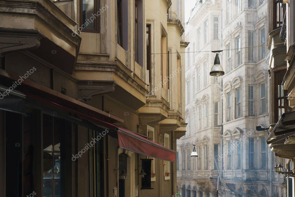 Narrow streets of old Istanbul. Walking through the historic city.