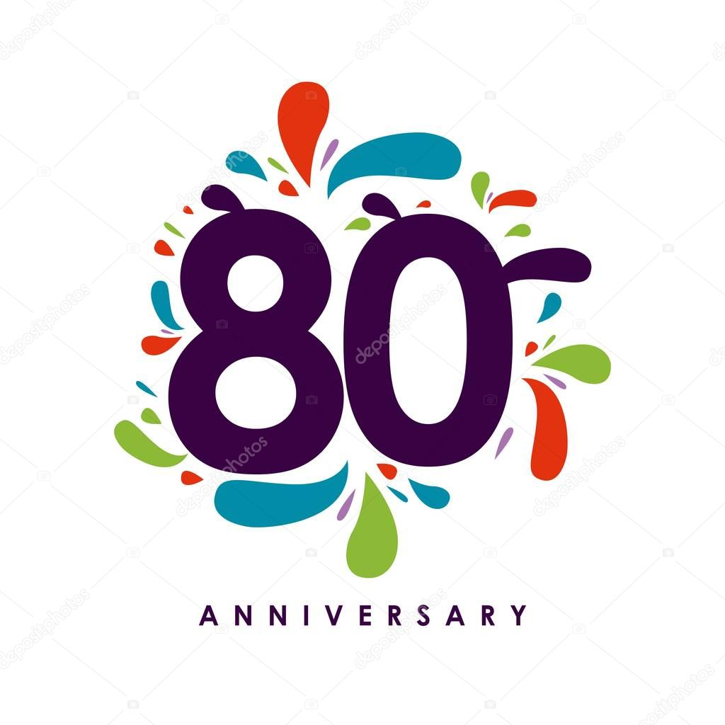 80 Year Anniversary Vector Template Design Illustration