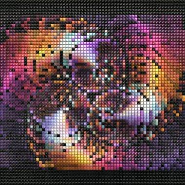 """Картина, постер, плакат, фотообои """"3d рендеринг фрактального фона слоистых пикселей живопись балконы"""", артикул 270601908"""