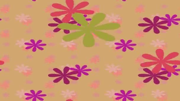 Abstraktní barevný film záběry klip s rotující a plavání různé květiny