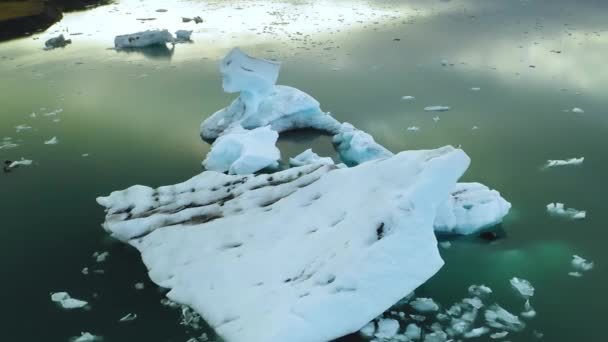 Aerial Glacial lagoon with icebergs floating in Iceland