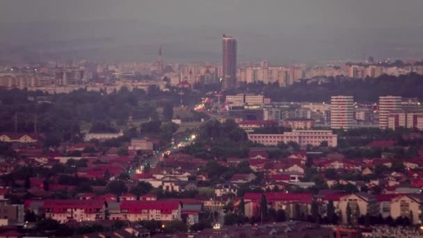 Scene shoot of busy Cluj Napoca city highways at sunset