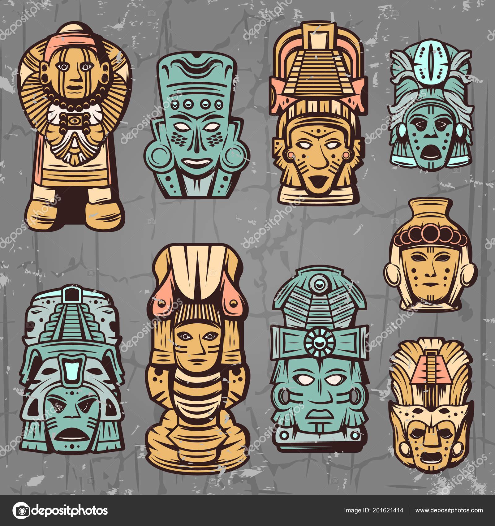 Conjunto De Máscaras Aztecas Colores Vintage Vector De Stock