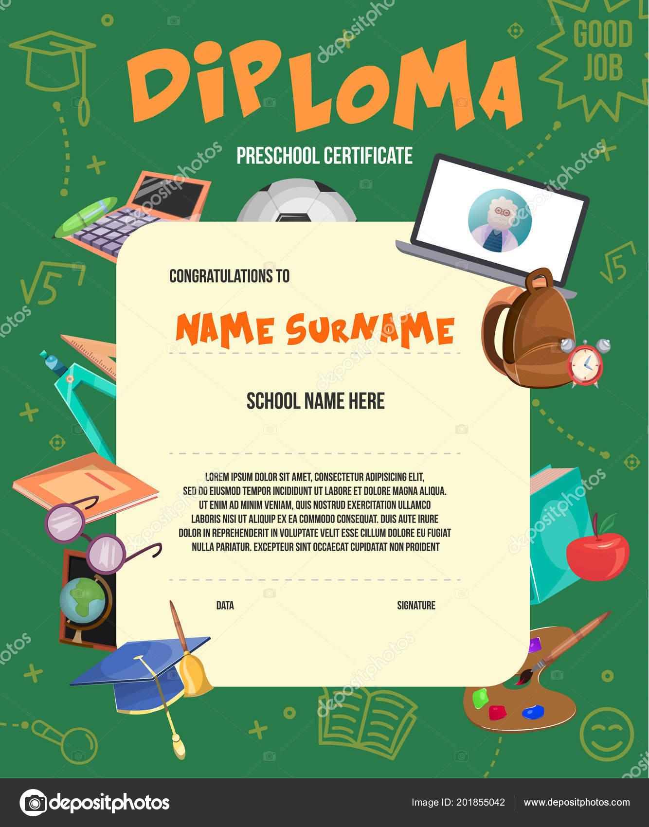 Flat Kids Diploma Certificate Template