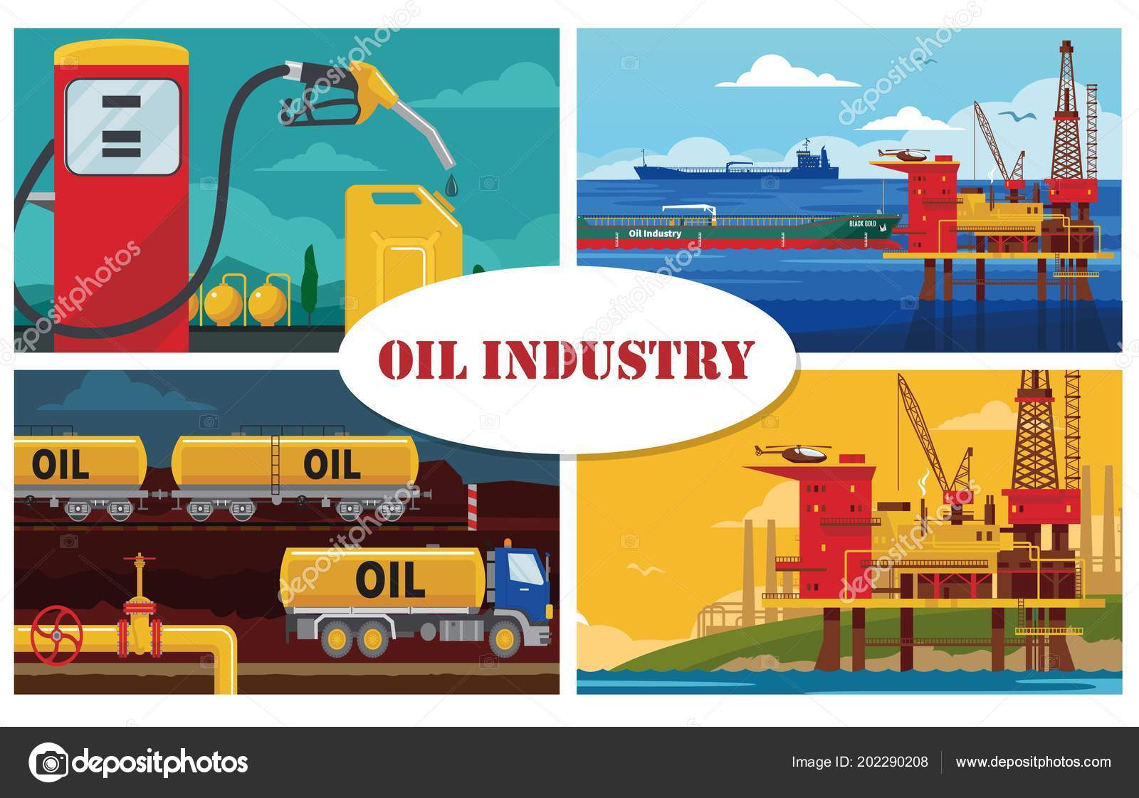 Flat Oil Industry Concept — Stock Vector © Mogil #202290208