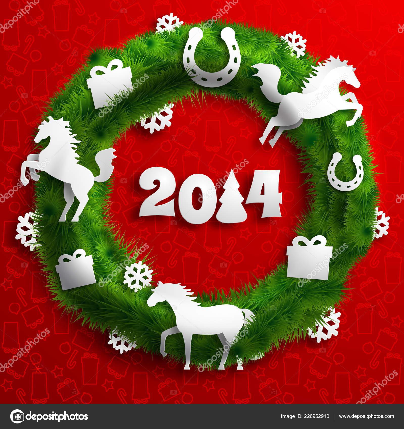 Immagini Di Natale Con Cavalli.Buon Modello Natale Con Cavalli Carta Corona Verde Presenta