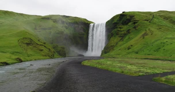 Aerial view of amazing Skogafoss Waterfall in South Iceland