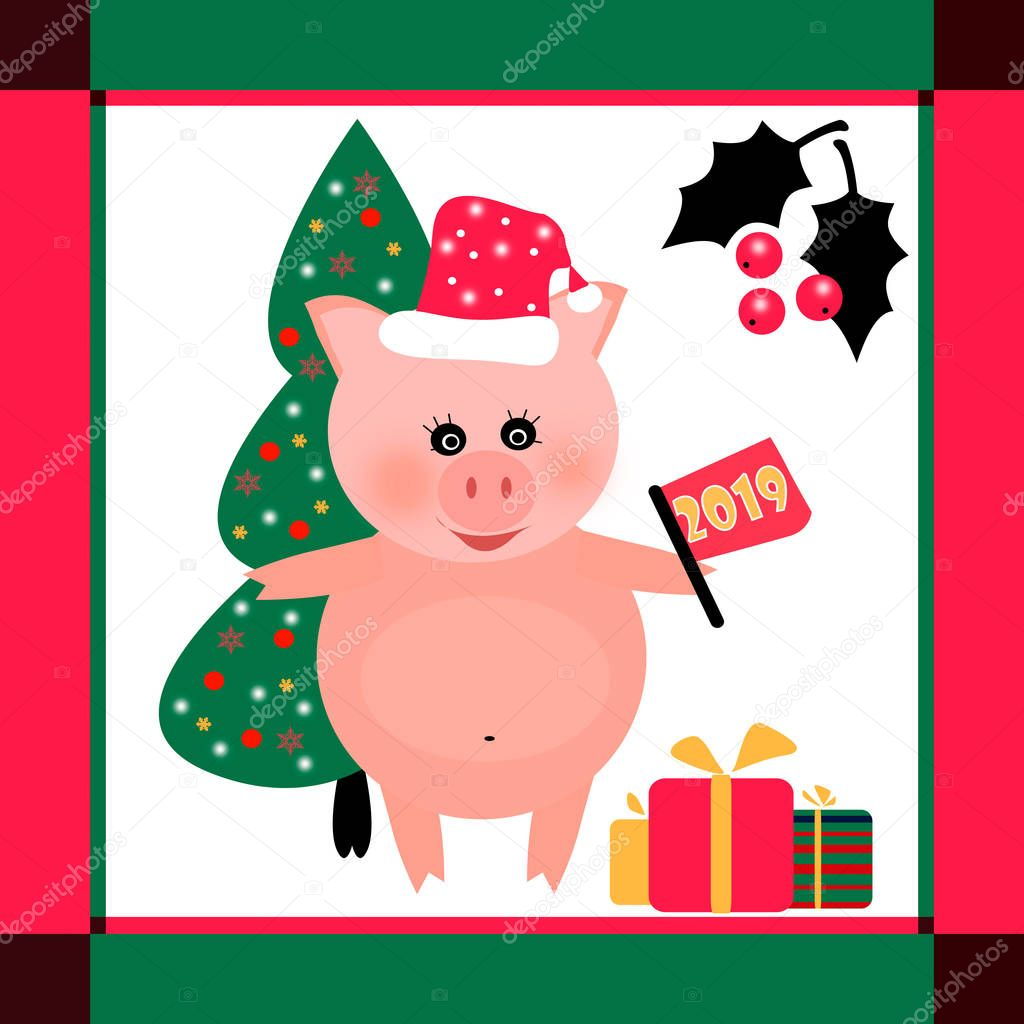 Плюшевыми, рисунок новогодняя открытка своими руками 2019 символ года свиньи