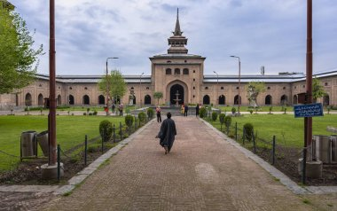 Jammu and Kashmir, India - April 14, 2019 : Jamia Masjid is a mosque at Nowhatta in the old city in downtown it is one of tourist attractions in Srinagar, Jammu & Kashmir, India