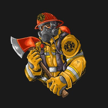 Fire fighter with axe illutration vector graphic icon