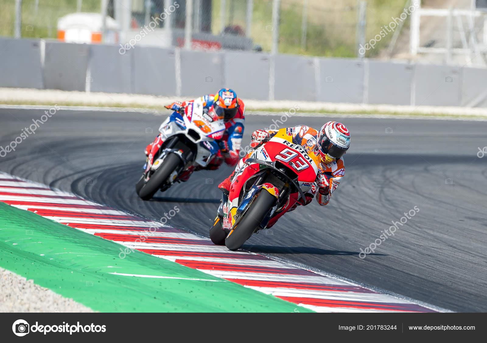 Barcelona Spain June 2018 Marc Marquez Monster Energy Catalonia Moto