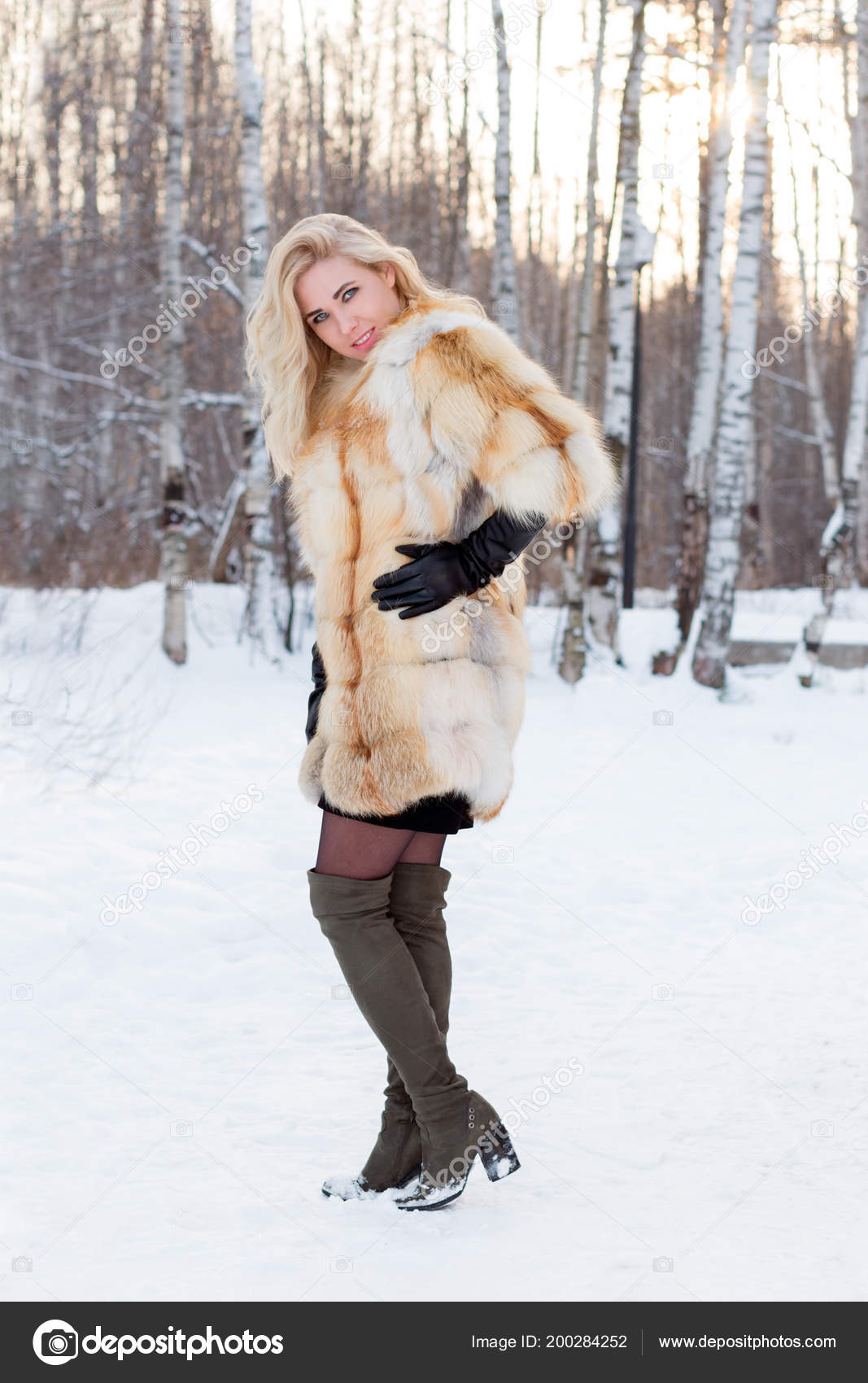 c6544033b Pretty Blonde Fur Coat Leather Gloves Poses Outdoor Winter Day ...