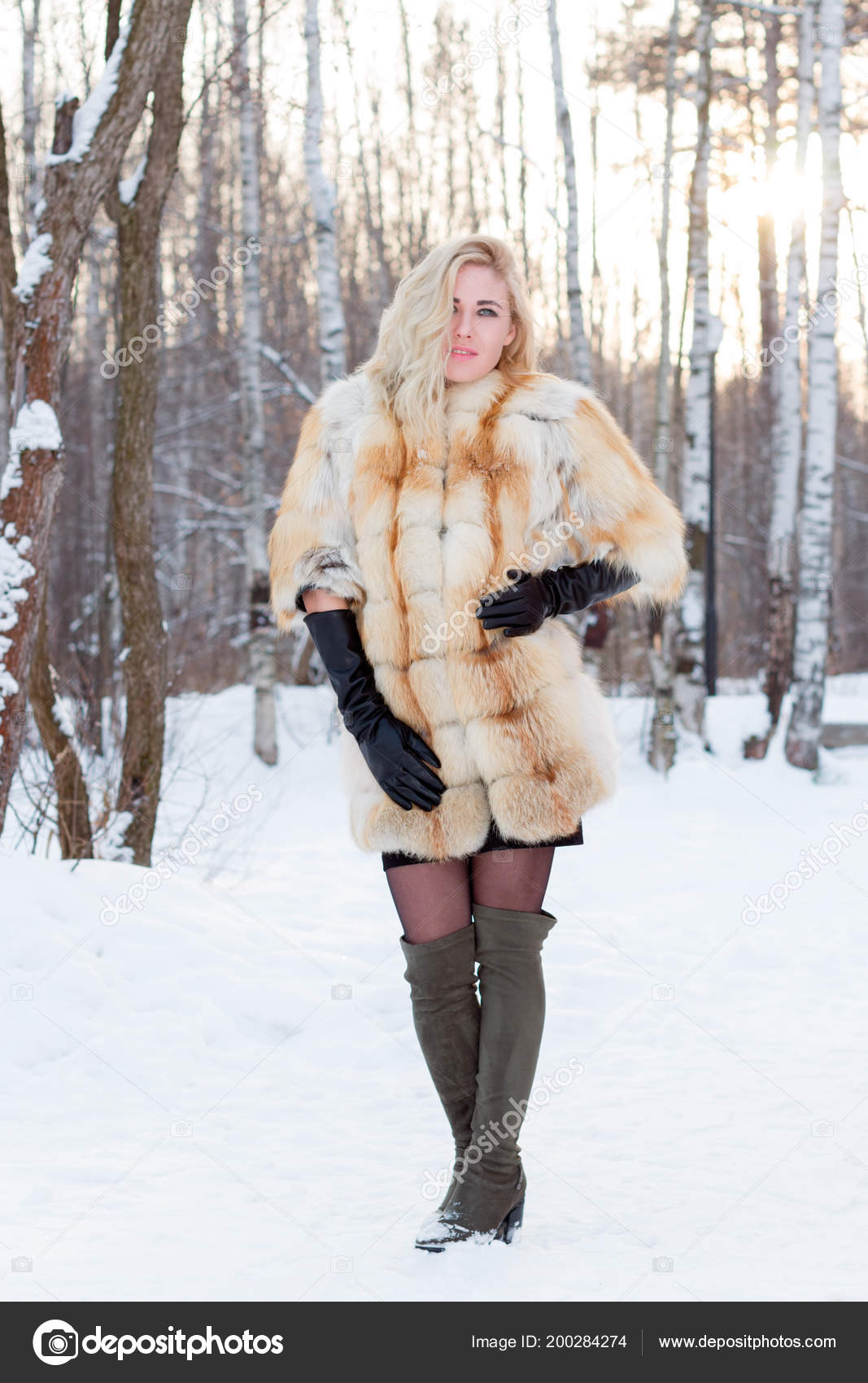 Are Beautiful blonde in fur coat the question