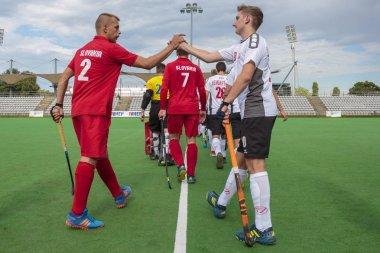 ZAGREB, CROATIA - JUNE 26, 2018: Hockey Series Open in Croatia 2018. Match between Austria and Wales (3-0). Field Hockey players entering playing field