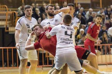 ZAGREB, CROATIA - FEBRUARY 24, 2018: Croatian Championships in Men's Handball RK Dubrava vs. RK Sesvete. PLayers in action