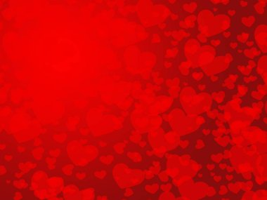 Red hearts on red background stock vector