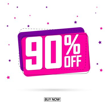 Sale 90% off, bubble banner design template, discount tag, limited time only, mega offer, app icon, vector illustration