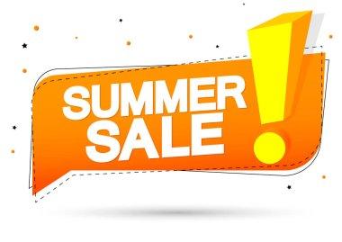 Summer Sale, speech bubble banner design template, discount tag, vector illustration
