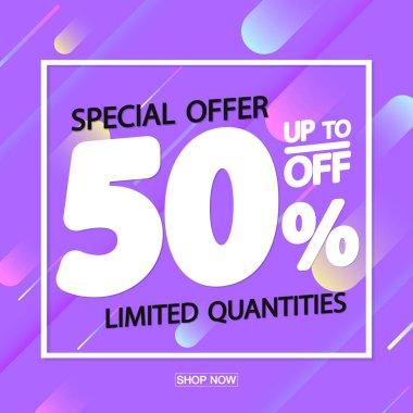 Sale 50% off, poster design template, special offer, vector illustration